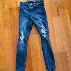 high-rise jean leggings crop